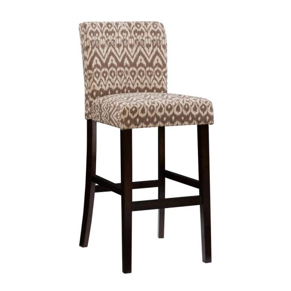 Boston 30 in. Ikat Upholstered and Brown Bar Stool