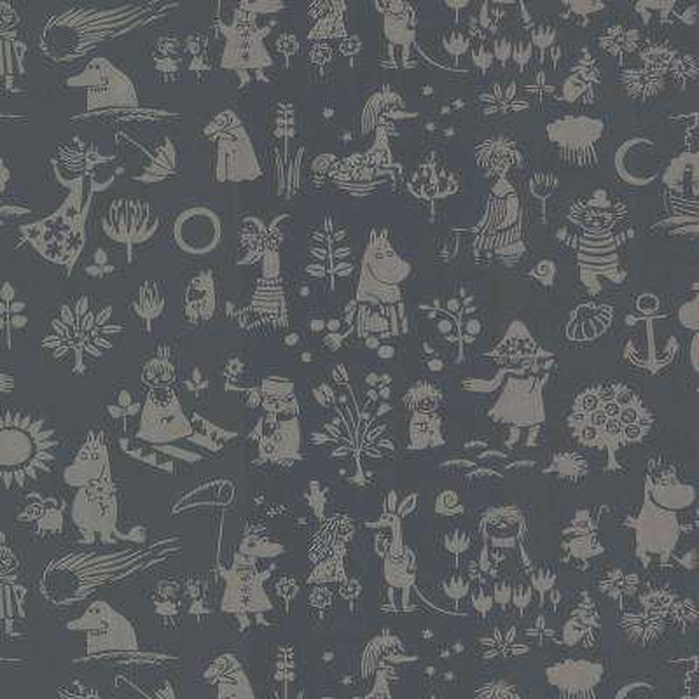Moomin Black Novelty Wallpaper