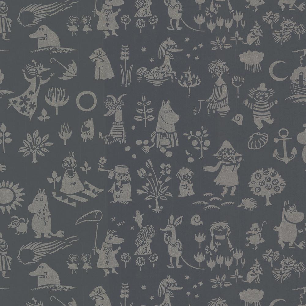 Sandudd Moomin Black Novelty Wallpaper Sample