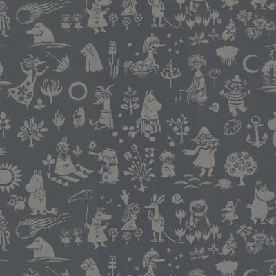 Moomin Black Novelty Wallpaper Sample