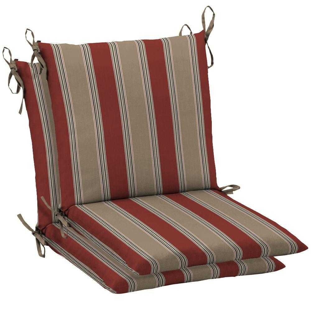 Arden Chili Stripe Mid Back Outdoor Chair Cushion (2-Pack)