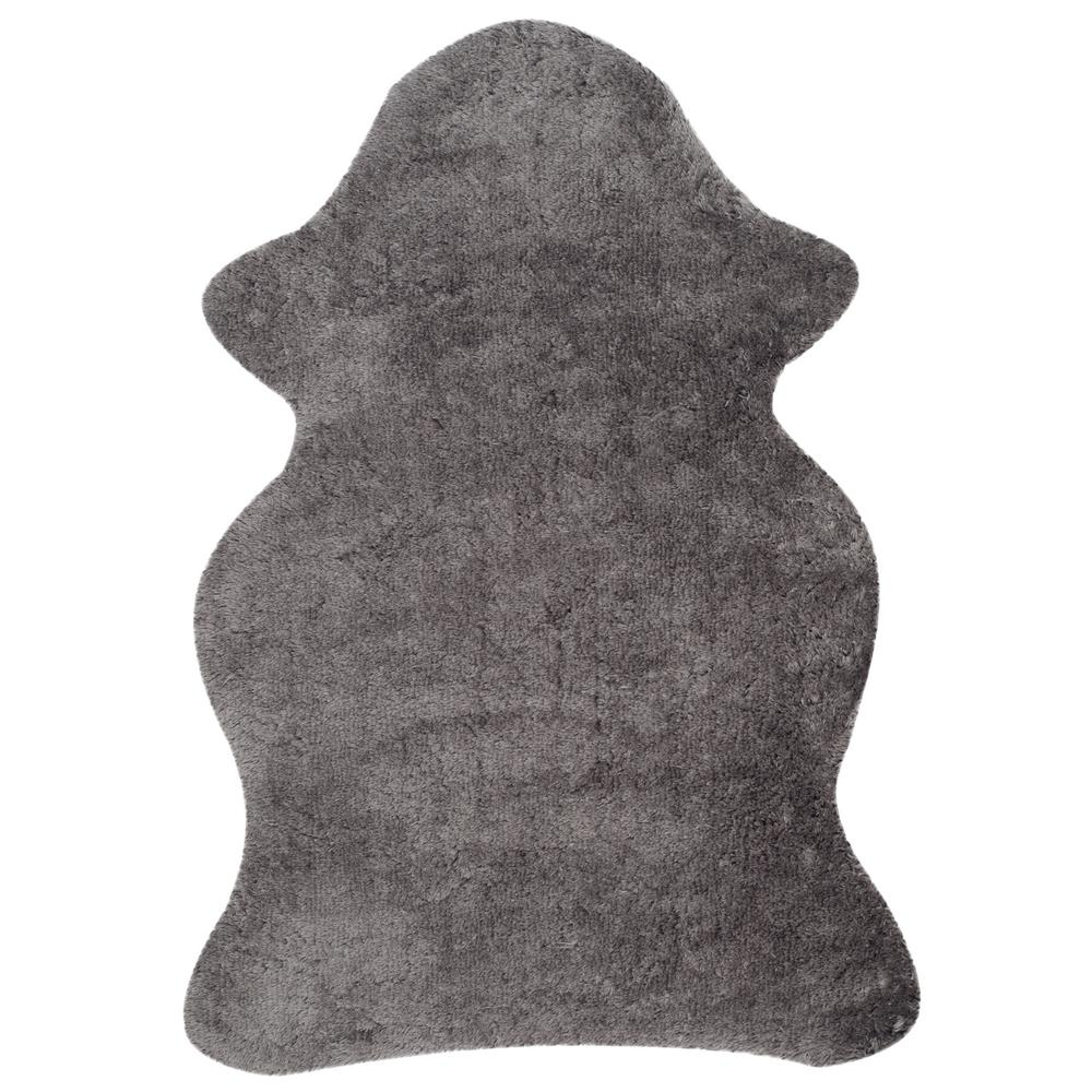 Arctic Shag Gray 2 ft. 6 in. x 4 ft. Scalloped