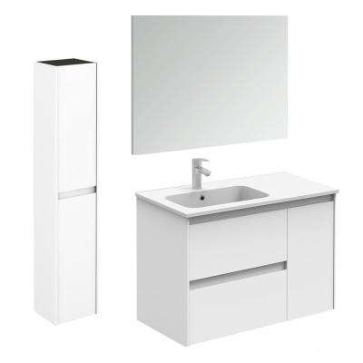 35.6 in. W x 18.1 in. D x 22.3 in. H Bathroom Vanity Unit in Gloss White with Mirror and Column