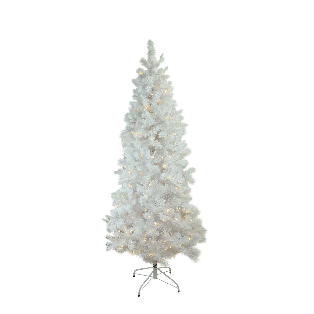 9 Ft X 49 In Pre Lit Flocked White Pine Slim Artificial Christmas Tree Warm White Led Lights