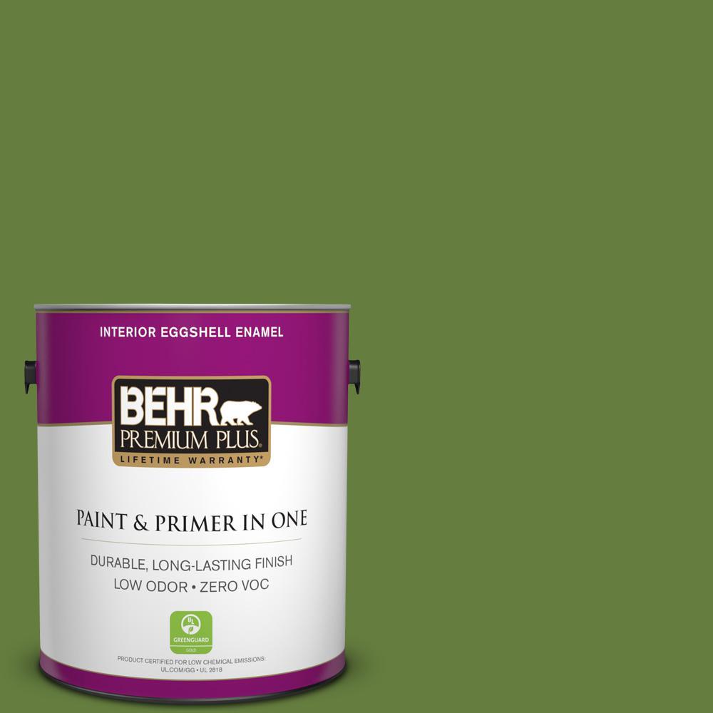 BEHR Premium Plus 1-gal. #410D-6 Moss Landing Zero VOC Eggshell Enamel Interior Paint