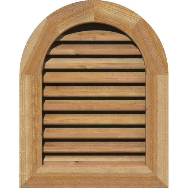 Ekena Millwork 33 X 31 Round Top Unfinished Rough Sawn Western Red Cedar Wood Gable Louver Vent Functional Gvwrt28x2601rfuwr The Home Depot