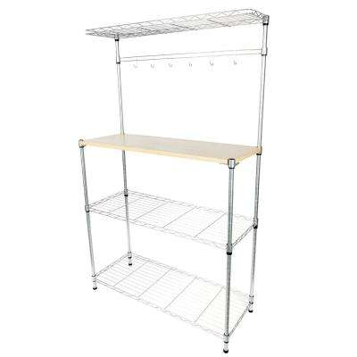 35 in. H x 15 in. W x 59 in. D 4-Tier Powder Coating Baker's Steel Storage Metal Shelf Microwave Oven Shelf with MDF