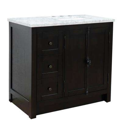 37 in. W x 22 in. D x 36 in. H Bath Vanity in Brown Ash with White Marble Vanity Top and Right Side Rectangular Sink