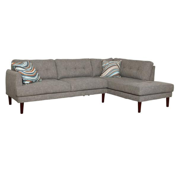 2-Piece Gray Linen Left-Facing Sectional Sofa Set SH6002B