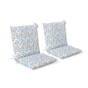 20 in. x 37 in. x 3 in. London Trellis Seaglass Outdoor Mid-back Dining Chair Cushion (2 Pack)