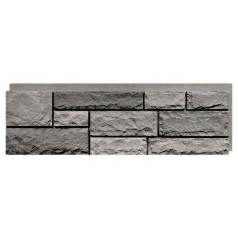 Random Rock Tri Gray 15.5 in. x 48 in. Faux Stone Siding Panel (4-Pack)