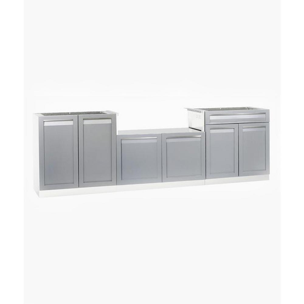 Steel Outdoor Cabinet Set Powder Coated Doors Gray