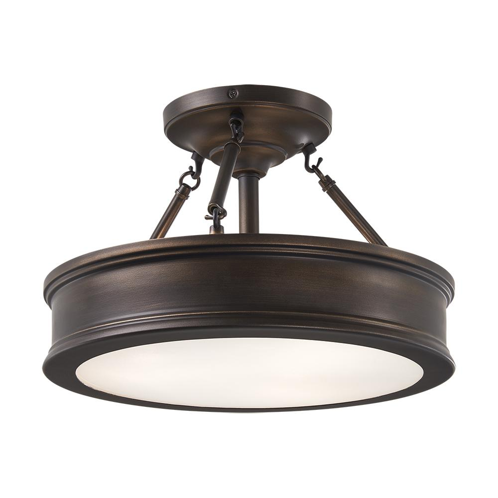 Home Decorators Collection 3-Light Hallmark Bronze Semi-Flush Mount with Clear Outside/Frosted Inside Glass