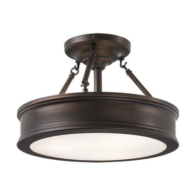 3-Light Hallmark Bronze Semi-Flush Mount with Clear Outside/Frosted Inside Glass