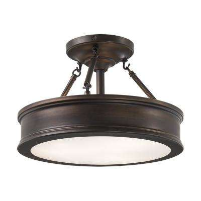 3-Light Hallmark Bronze Semi-Flushmount with Clear Outside/Frosted Inside Glass