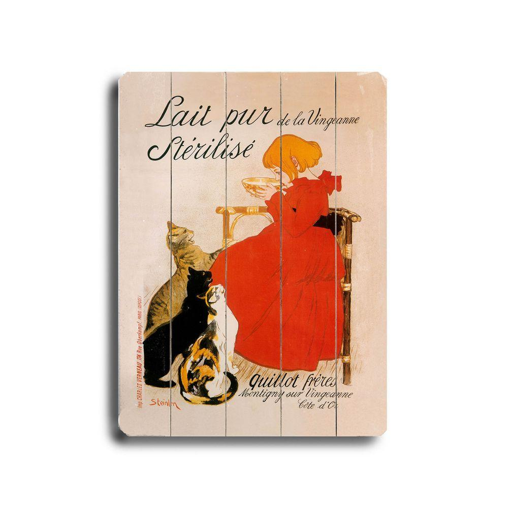 ArteHouse 9 in. x 12 in. Lait Pur Sterilise Cats Vintage Wood Sign-DISCONTINUED