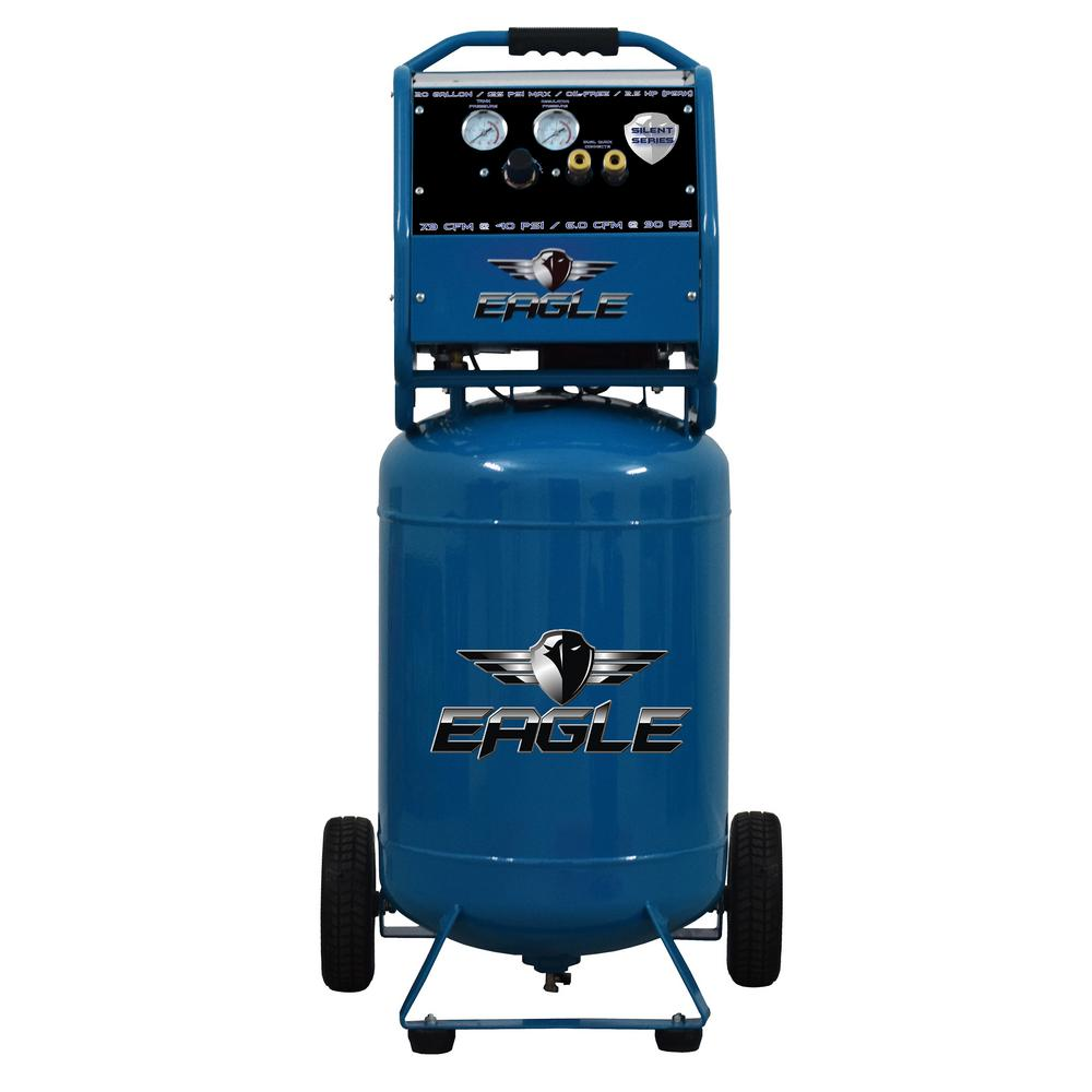 Eagle Silent Series, 2.5 HP Electric 115-Volt, Oil Free, 20 Gal. Vertical Portable