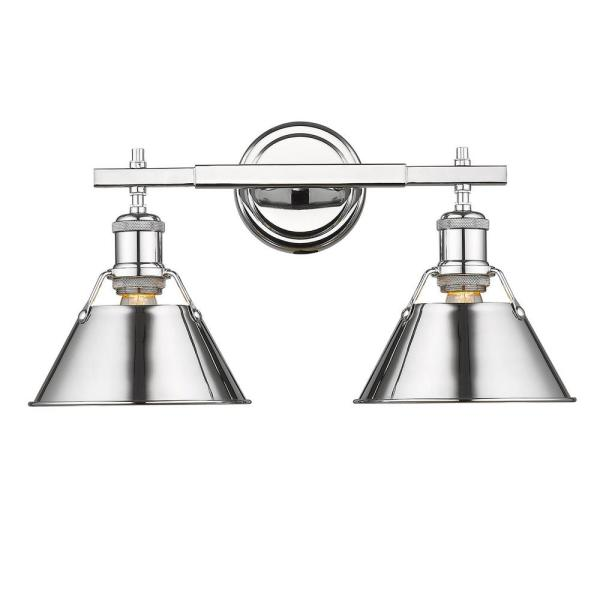 Orwell 2-Light Chrome with Chrome Shade Bath Vanity Light