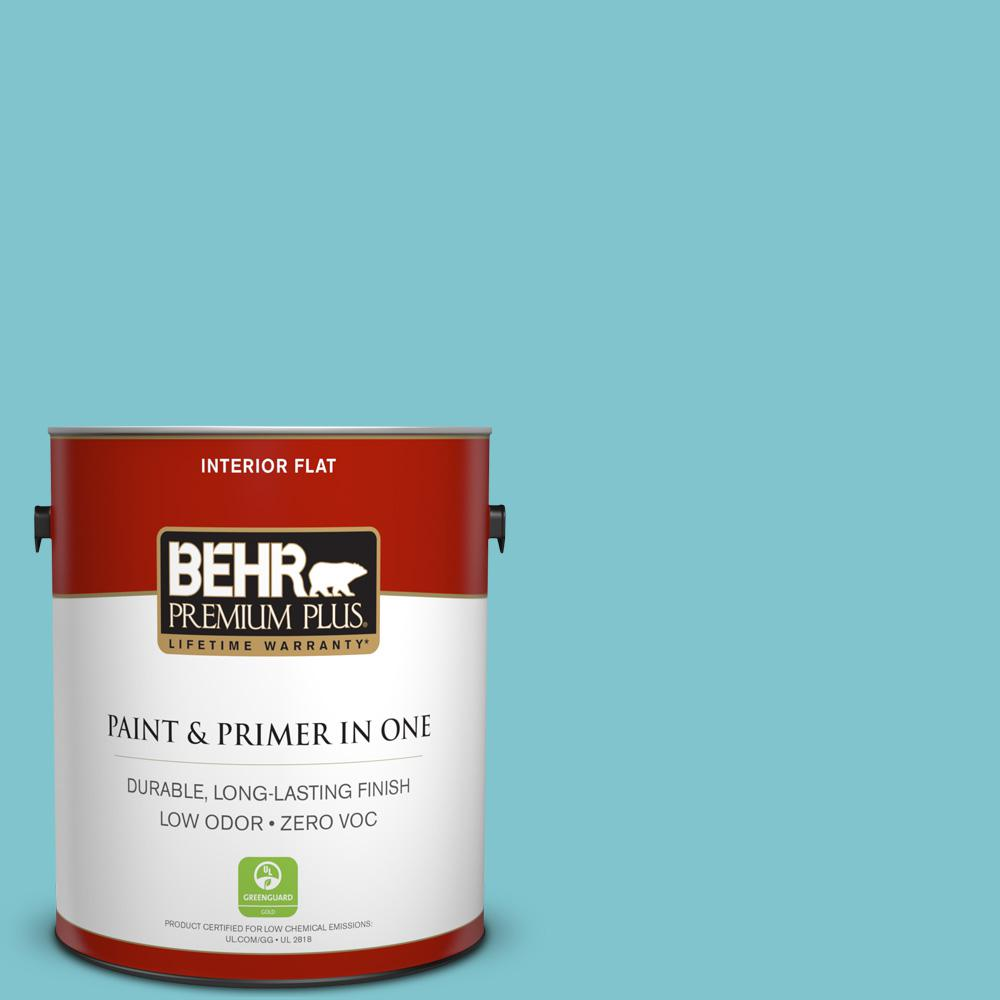 BEHR Premium Plus 1-gal. #520D-4 Shallow Sea Zero VOC Flat Interior Paint, Blues