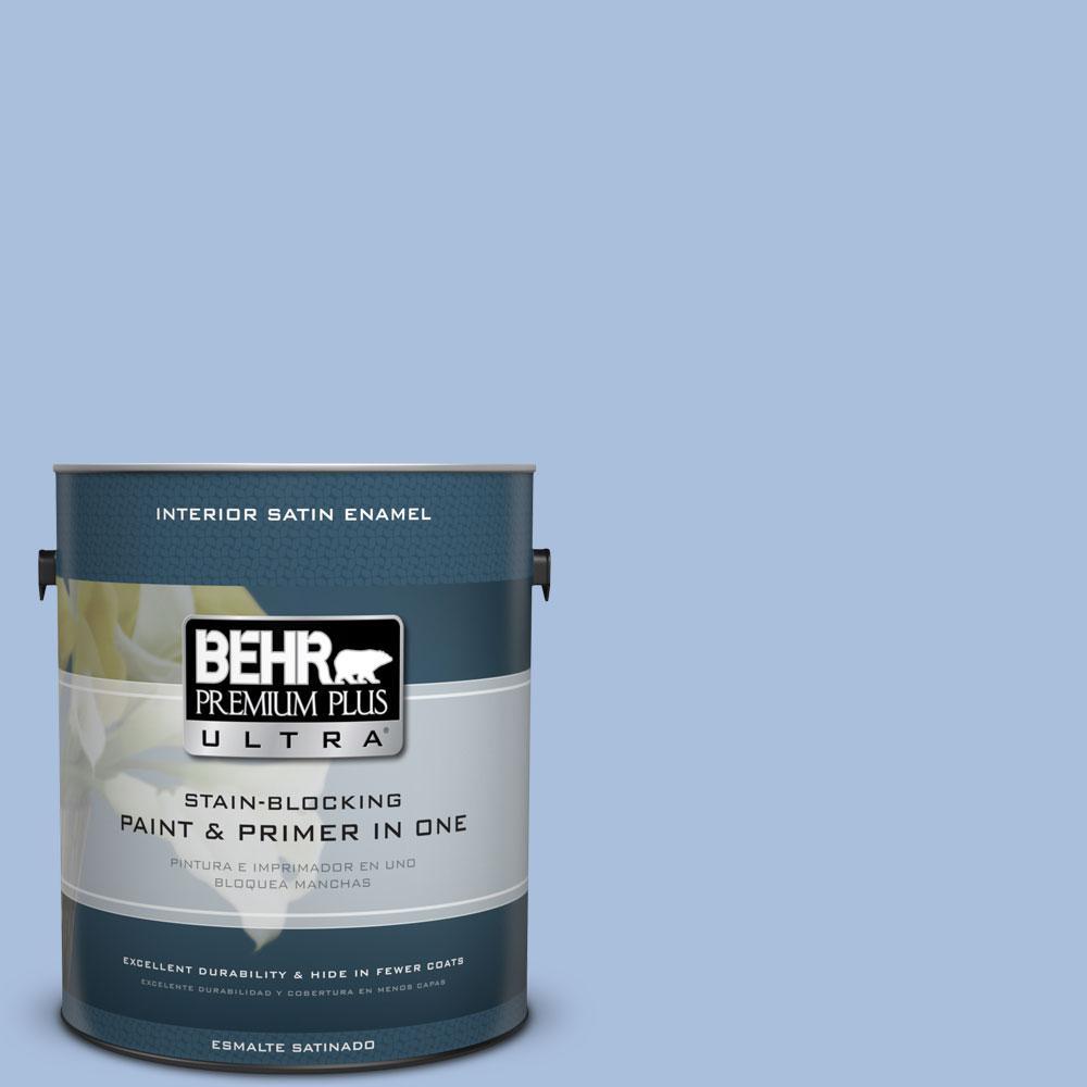 1 gal. #580D-4 Skysail Blue Satin Enamel Interior Paint and Primer