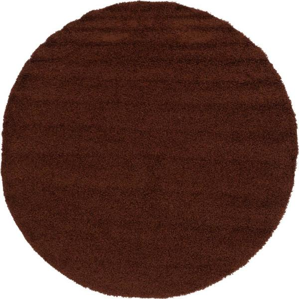Solid Shag Chocolate Brown 8 ft. Round Area Rug