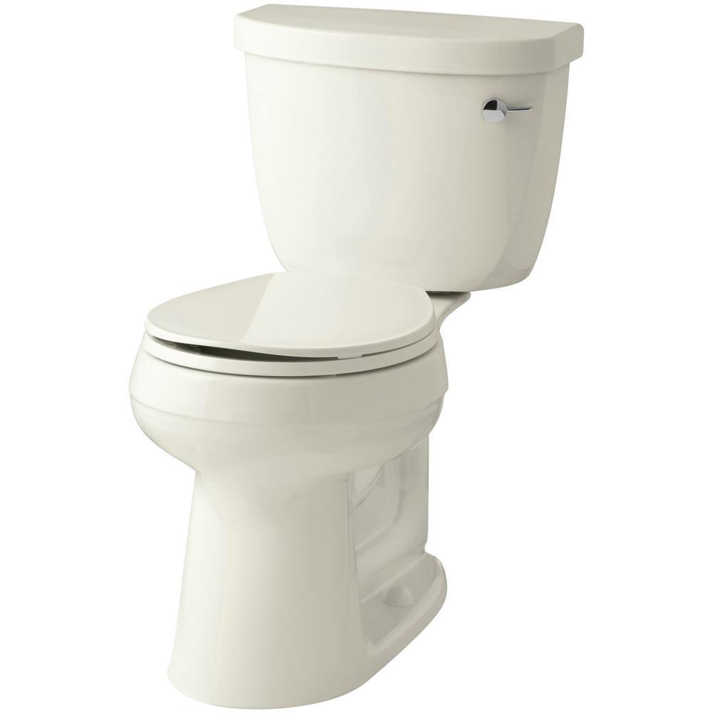 KOHLER Cimarron Comfort Height 2-piece 1.28 GPF Single Flush Round Toilet with AquaPiston Flush Technology in Biscuit