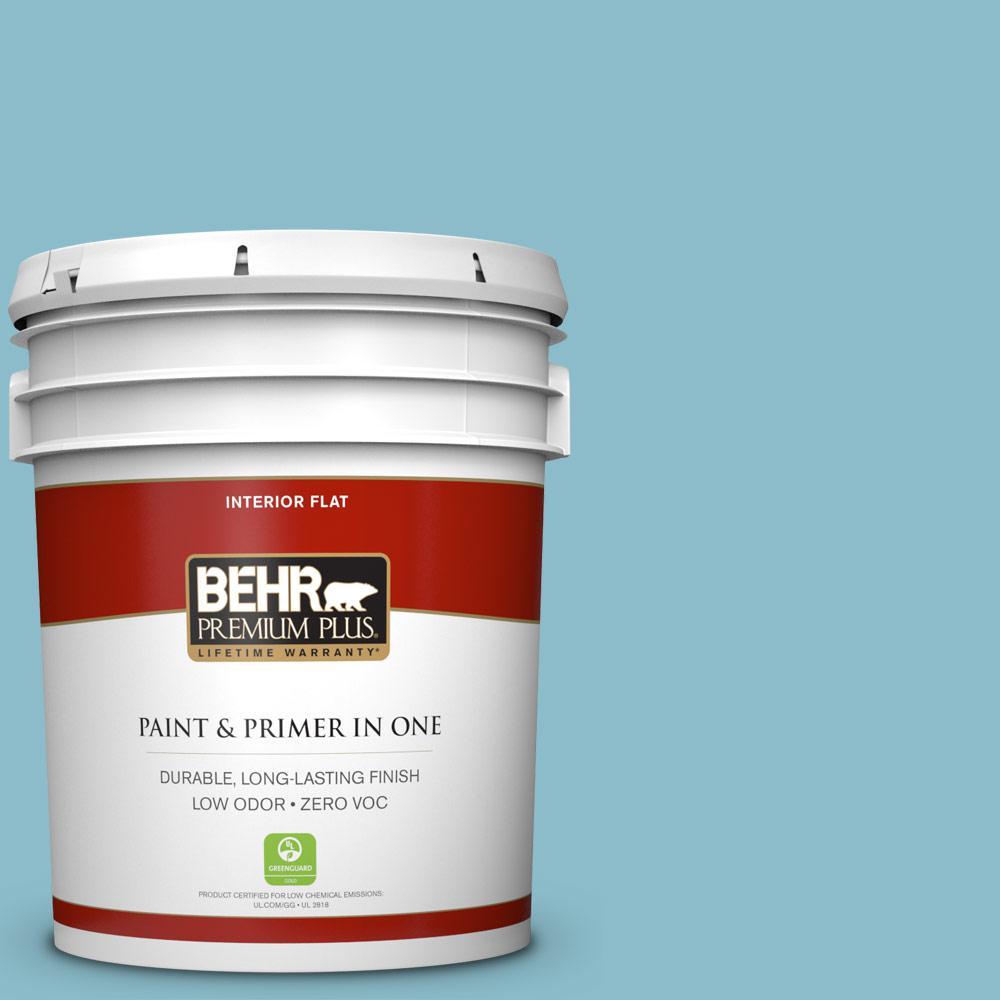 BEHR Premium Plus 5-gal. #S460-3 Blue Echo Flat Interior Paint