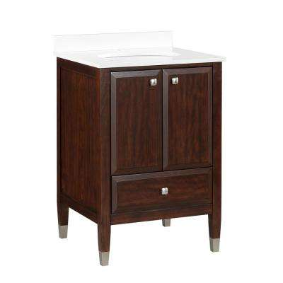 Tricia 24 Inch Walnut Bathroom Vanity with White Composite Granite Vanity Top, Ceramic Oval Sink and Backsplash
