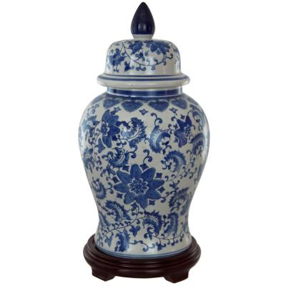 Oriental Furniture 18 in. Porcelain Decorative Vase in Blue