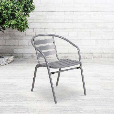 Metal Outdoor Dining Chair in Silver