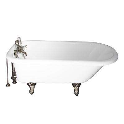 5.6 ft. Acrylic Ball and Claw Feet Roll Top Tub in White with Brushed Nickel Accessories