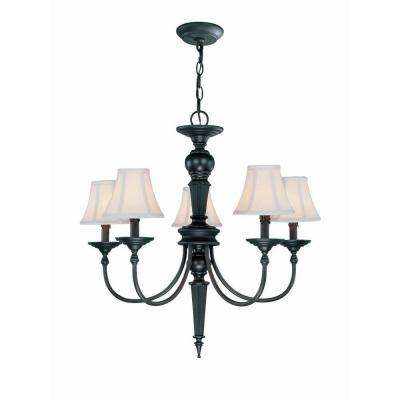 5-Light Bronze Chandelier with White Fabric Shade
