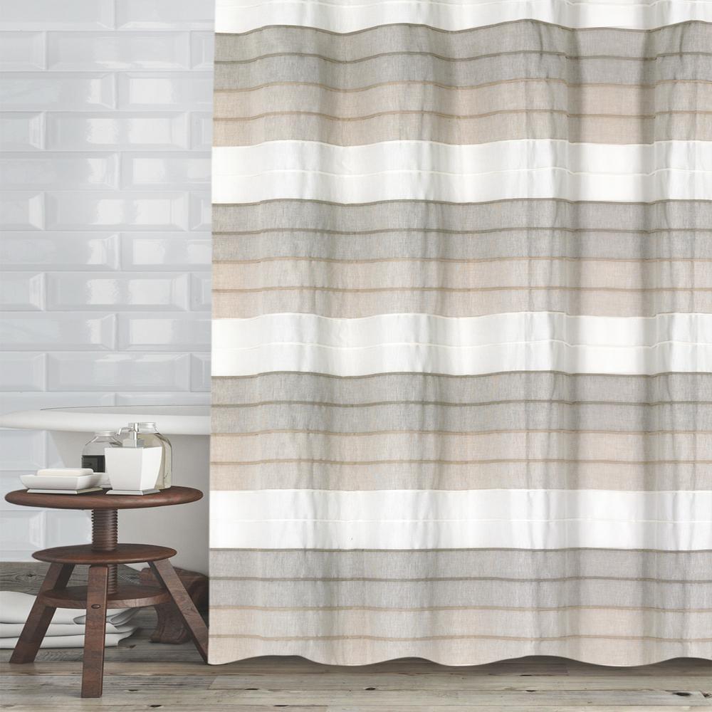 72 in. Ivory Tan Hellen Shower Curtain