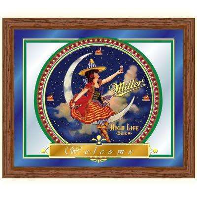 Miller High Life Girl in The Moon 16 in. x 19 in. Brown Wood Framed Mirror