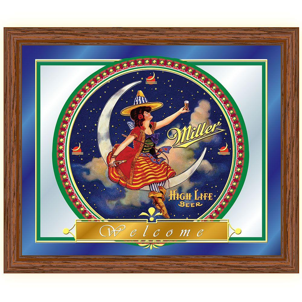 Trademark Miller High Life Girl in The Moon 16 in. x 19 in. Brown ...