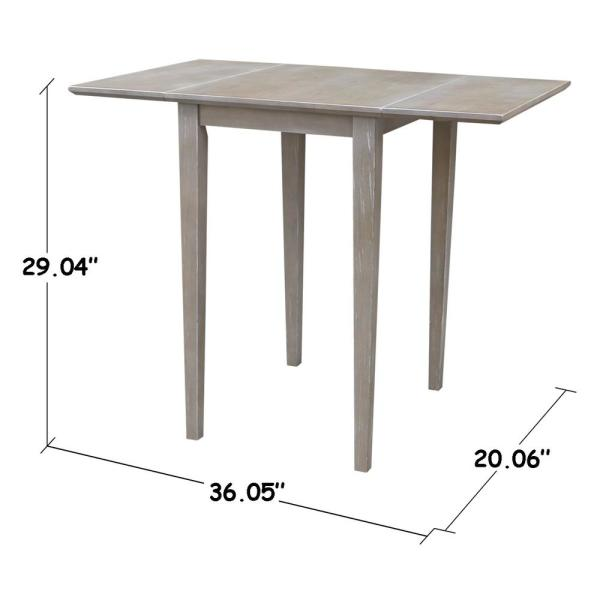 International Concepts Weathered Taupe Gray Small Drop Leaf Dining Table