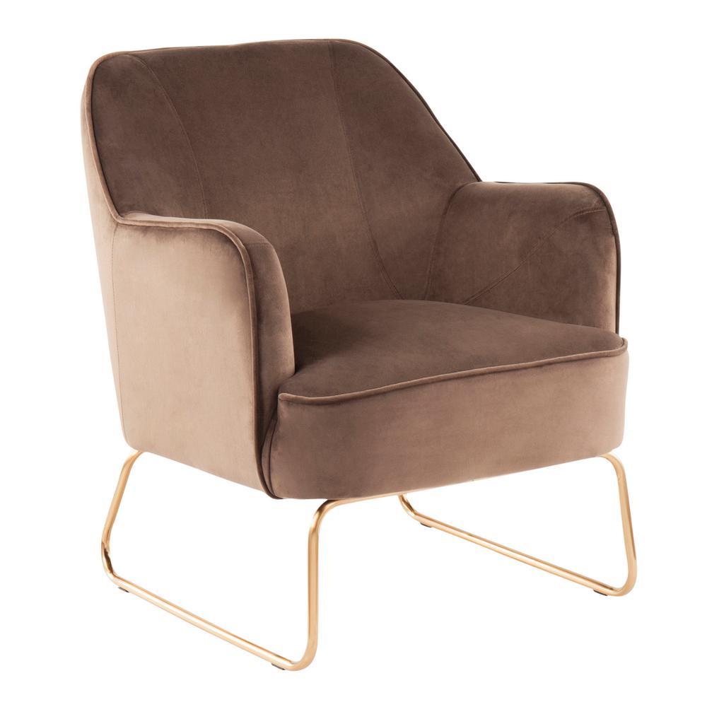 Phenomenal Lumisource Daniella Espresso Velvet Accent Chair With Gold Spiritservingveterans Wood Chair Design Ideas Spiritservingveteransorg