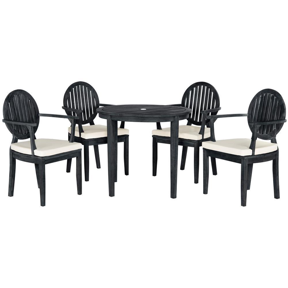 Safavieh Chino Dark Slate Gray 5-Piece Wood Patio Seating Set with Beige Cushions