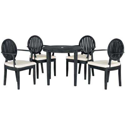 Chino Dark Slate Gray 5-Piece Wood Patio Seating Set with Beige Cushions