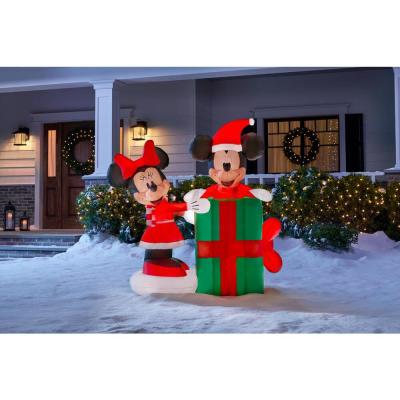 5 ft. Animated Inflatable Minnie with Mickey Popping Out of Present Scene