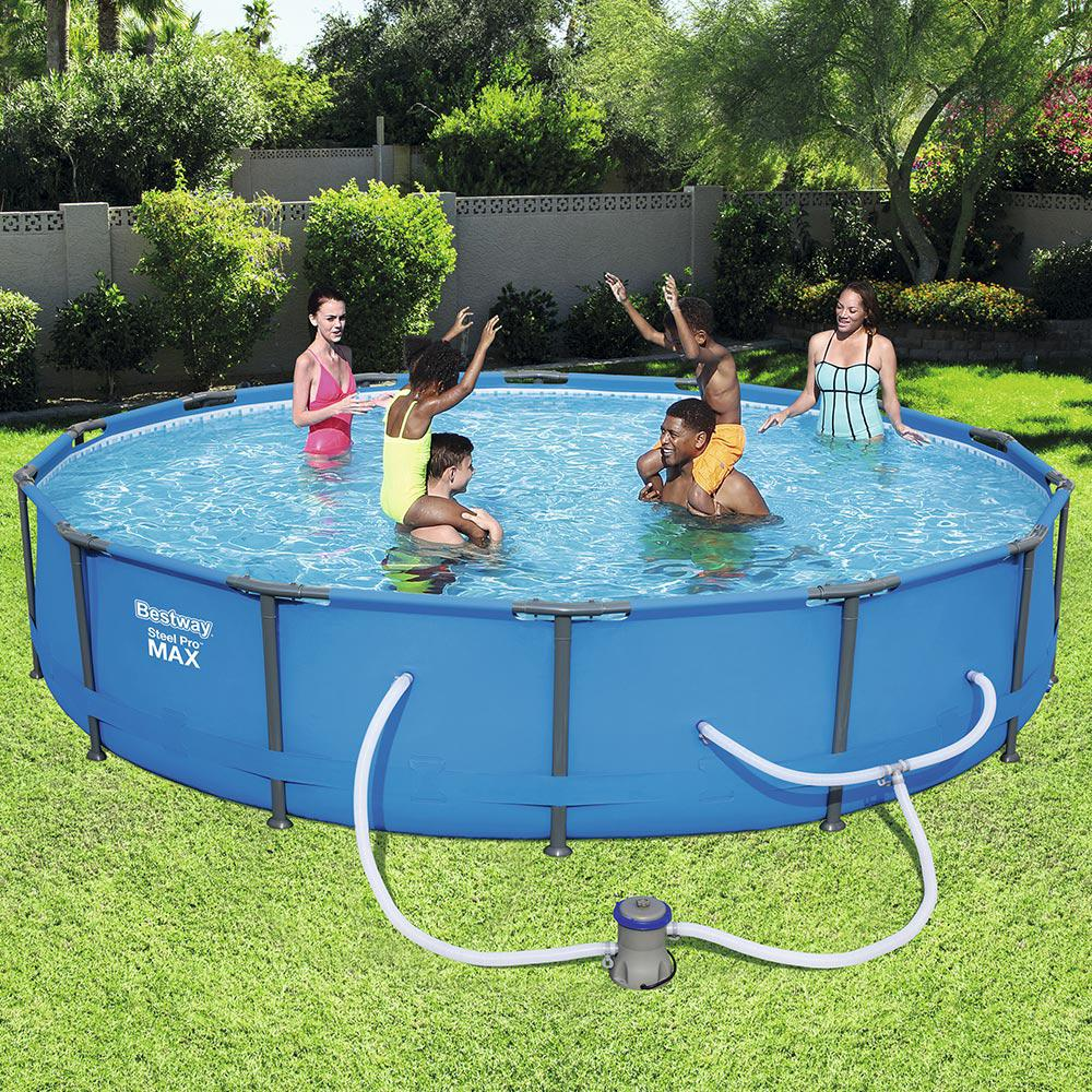 Bestway Steel Pro 14 ft. Round x 33 in. Deep Above Ground Pool Package