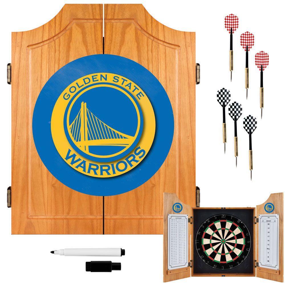 NBA Golden State Warriors Wood Finish Dart Cabinet Set