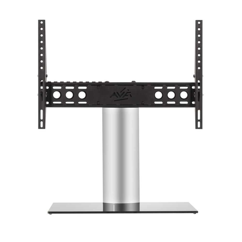 AVF Universal Table Top TV Base, Silver The AVF B601BS-A is a Universal Table Top TV Stand/TV Base for most TVs 46 in. to 65 in. The tilt function is helpful in managing glare and reflections while viewing. It supports TVs up to 99 lbs. It is VESA compatible with mounting hole patterns between 100x100 and 600x400. Universal TV Bases are perfect in situations where the original TV stand has been lost or discarded (which often happens when a TV has been wall mounted). These Universal Pedestal-Style bases are also excellent, robust replacements for the wide-spread TV feet that are provided with some TVs. In many cases, the wide-spread, duck-feet, do not allow a TV to fit safely on a TV stand or other furniture. The gloss black and silver finish complements any TV and decor. For TV Sizes 46, 47, 50, 52, 55, 58, 60, 65.