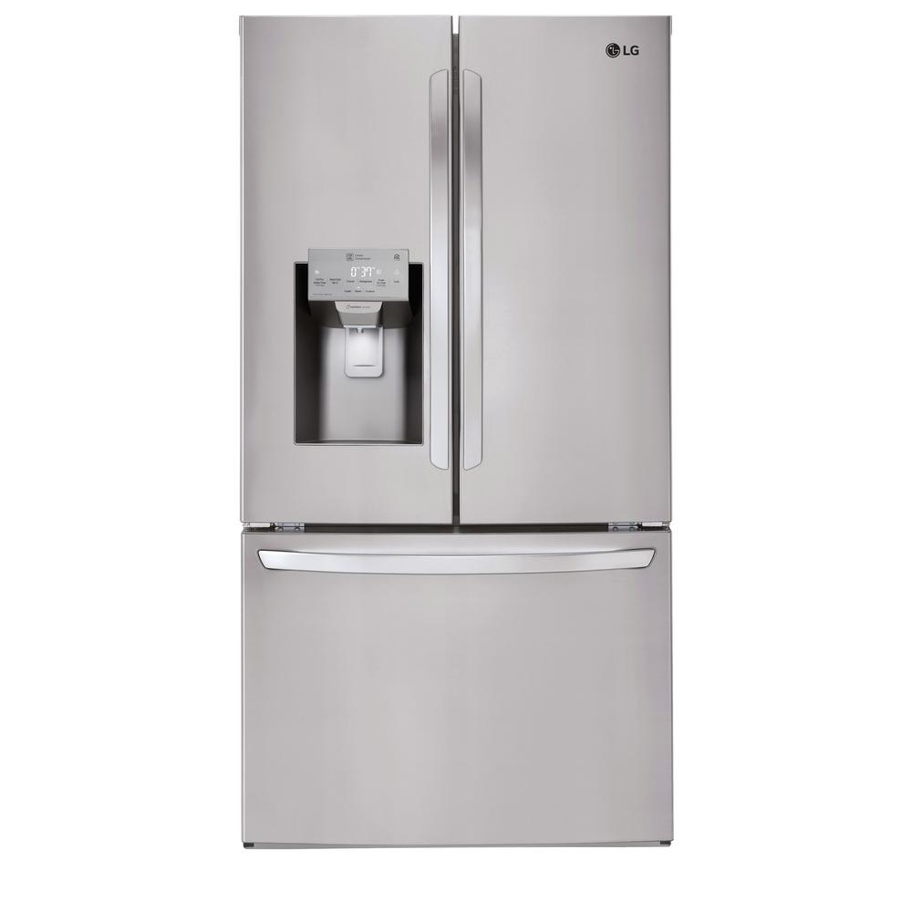 LG Electronics 27.9 cu. ft. Built-In French Door Smart Refrigerator with Wi-Fi Enabled in Stainless Steel