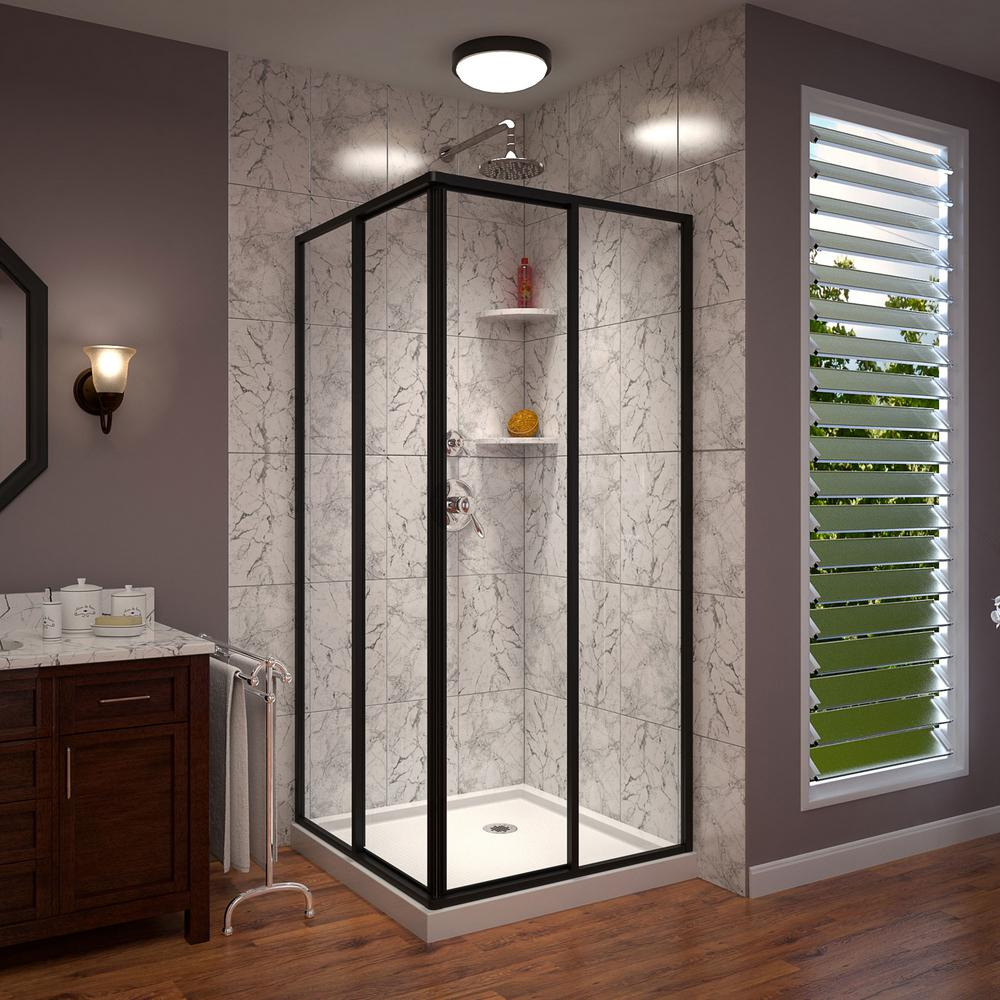 Cornerview 34 in. W x 72 in. H Framed Sliding Shower Door in Satin Black with 36 in. x 36 in. Base in White