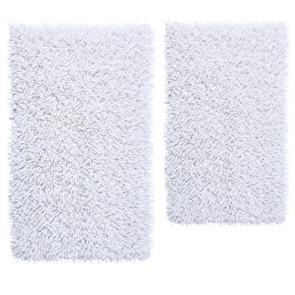 White 20 In. X 30 In. And 21 In. X 34 In. Chenille Shaggy Bath Rug Set (2 Piece)