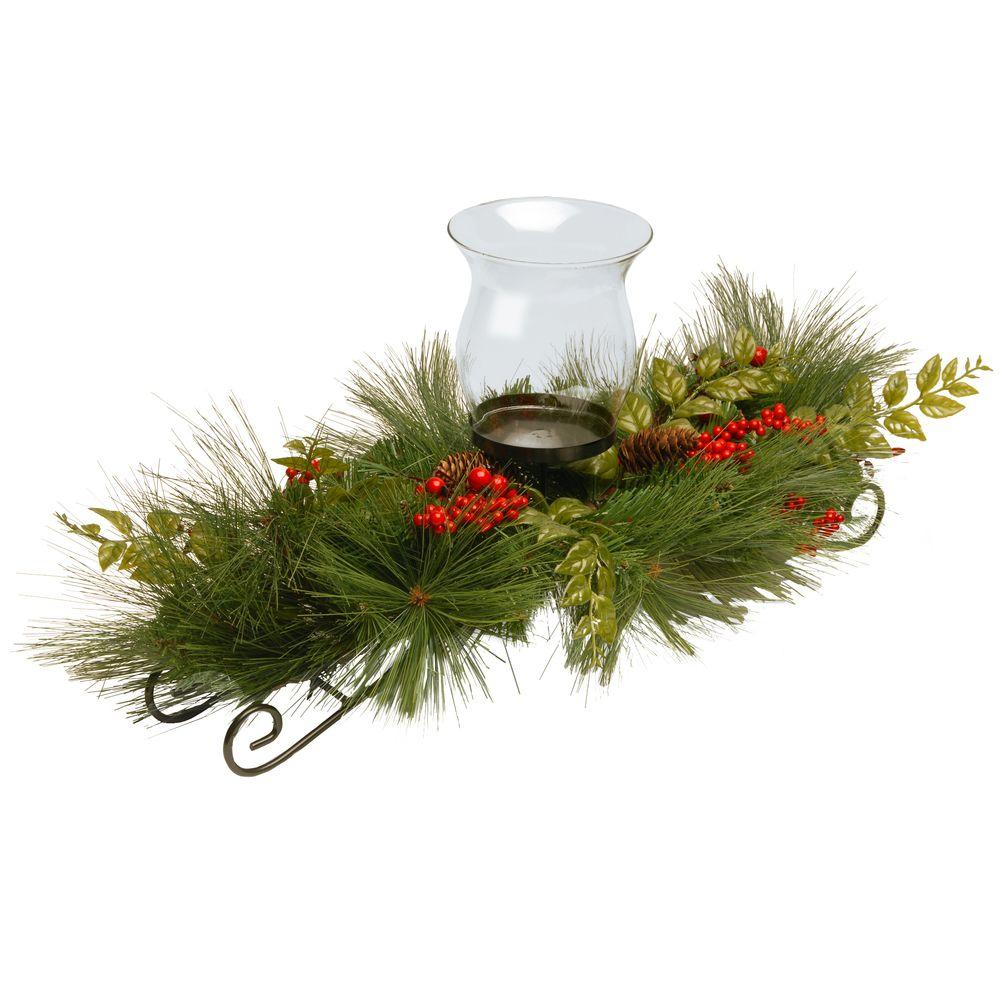 30 in. Mixed Bristle Pine Candle Holder, Green