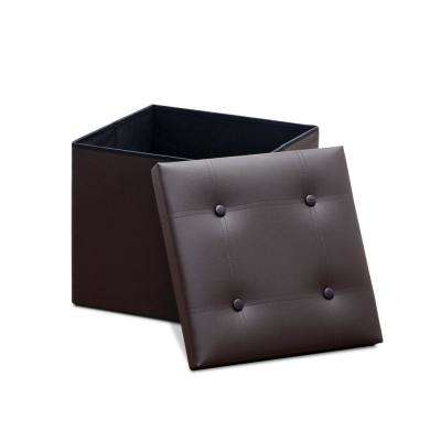 Modern Espresso Foldable Faux Leather Square Storage Bench (Set of 2)