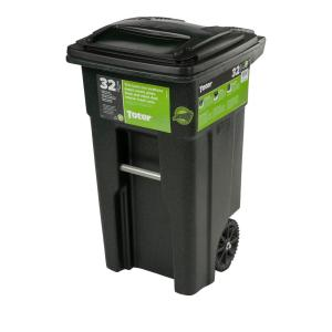 Toter 32 Gal Green Trash Can With Wheels And Attached Lid