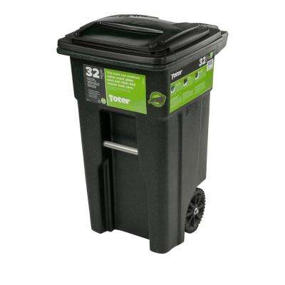 32 Gal. Green Trash Can with Wheels and Attached Lid